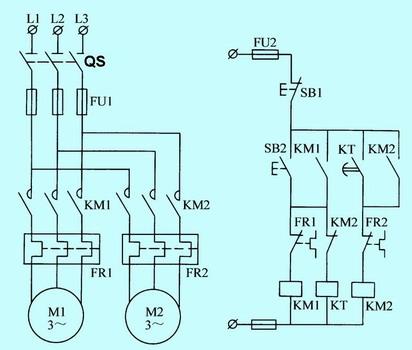 时间继电器控制的顺序起动电路